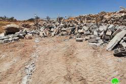 IOF Demolish an Agricultural Room in Al-Buweib – East Yatta/ Hebron Governorate