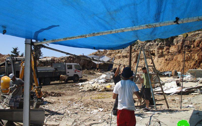 هدم 3 منشآت في بلدة دير بلوط / محافظة سلفيت