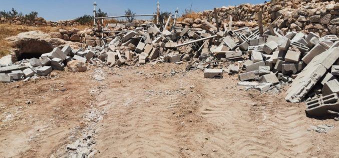IOF Demolish an Agricultural Room in Al-Buweib – East Yatta/ Hebron Governorate