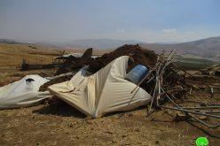 هدم عدداً من المنشآت السكنية والزراعية في خربة الرأس الأحمر / محافظة طوباس
