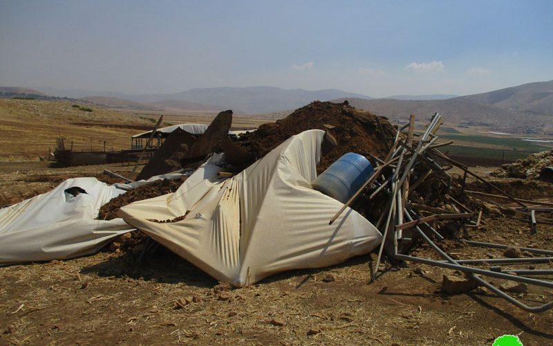 IOF Demolish Number of Structures in Khirbet Ras Al-Ahmar/ Tubas Governorate