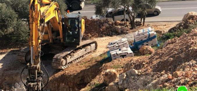 Demolition of foundations of a house in Huwara village/ Nablus governorate