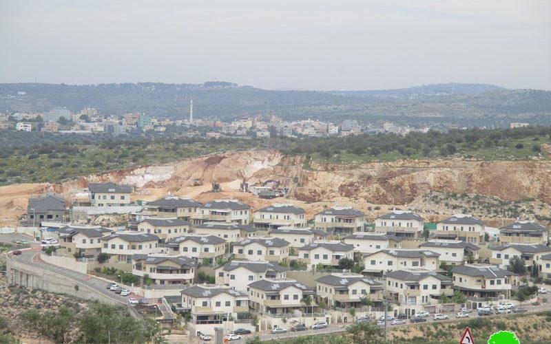 """توسيع مستعمرة """" الكانا"""" الإسرائيلية على حساب أراضي قرية مسحة / محافظة سلفيت"""