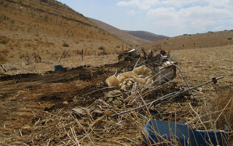 IOF Demolish a Residence and Agricultural Facilities in Khirbet Al-Faw/ Tubas Governorate