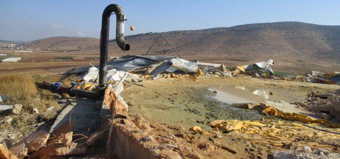 Demolition of a water reservoir in Khirbet Einun / Tubas governorate