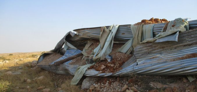 Demolition of a water reservoir in Sahel Qa'oun / Tubas governorate