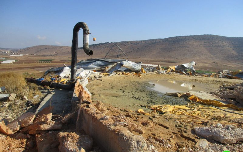 Demolition of a water reservoir in Khirbet Einun / Tubas governorate