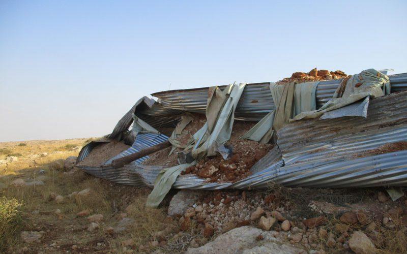 تدمير خزان للمياه في منطقة سهل قاعون / محافظة طوباس