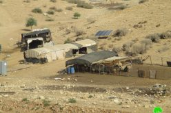 Halt of work order on tents in Khirbet Humsa Al-Fouqa / Tubas governorate