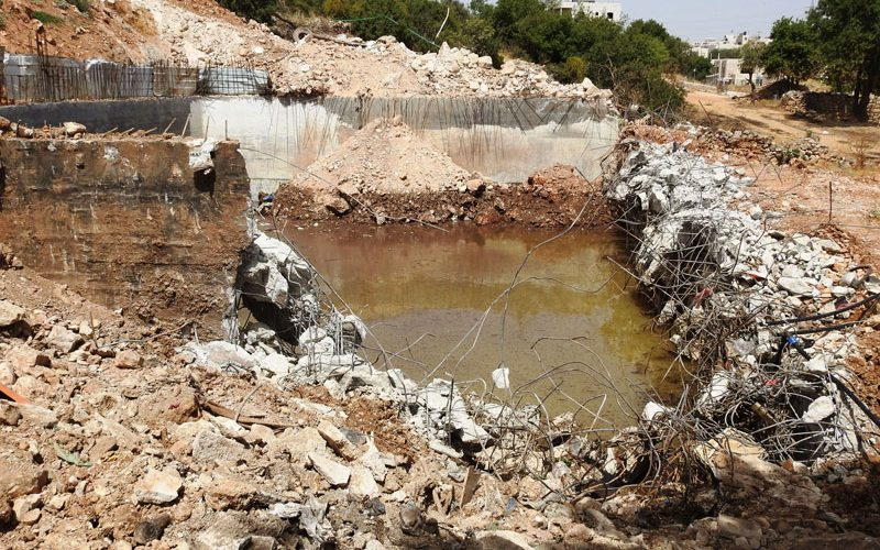 The Occupation demolishes an agricultural pool in Wadi Al-Ghorous / East Hebron
