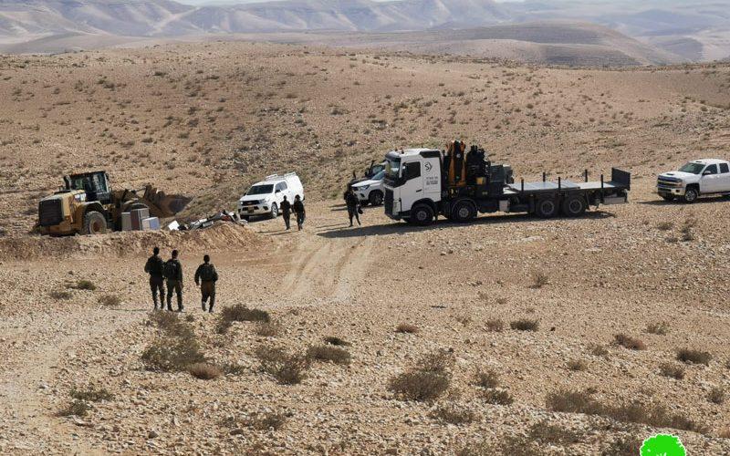 الاحتلال يهدم مساكن ومنشآت مواطنين في شعب الحراثات بمسافر يطا / محافظة الخليل