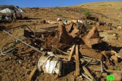 IOF demolish residential and agricultural Barracks in Khirbet Ar-Ras Al-Ahmar/ Tubas governorate