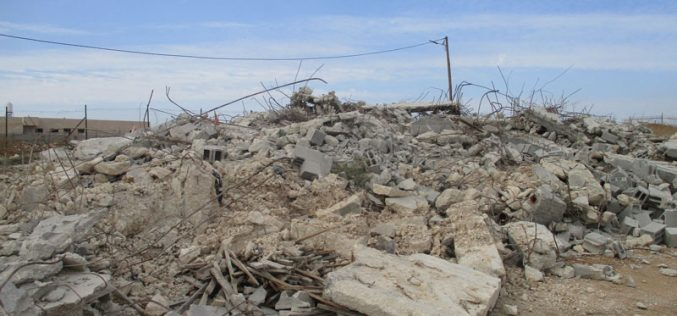 Demolishing an under construction house in At-Tayiba village / northwest Jenin