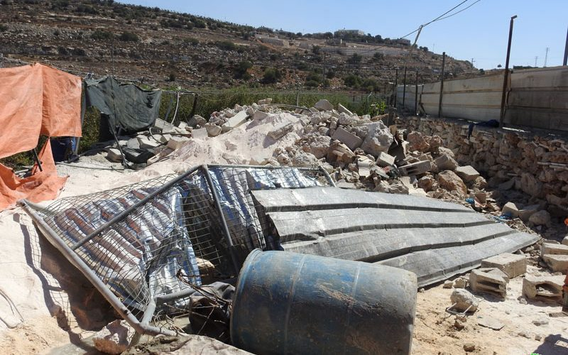 The Israeli occupation demolish a cistern and an agricultural room in Al-Buqa'a / East Hebron