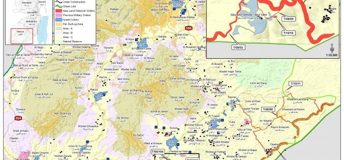 الاحتلال يمدد الاستيلاء على آلاف الدونمات جنوب محافظة الخليل