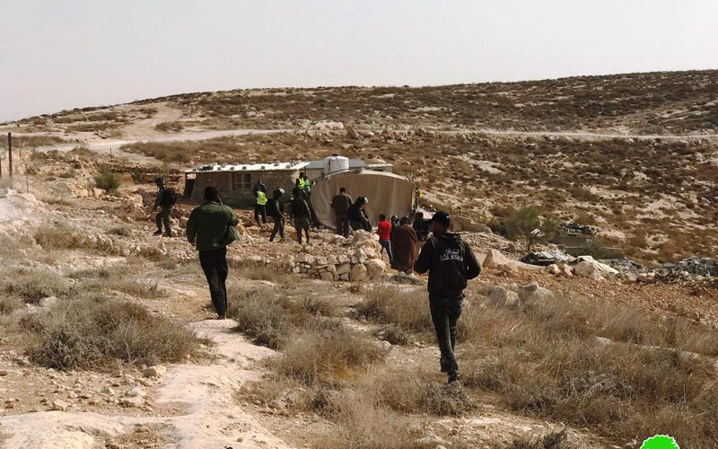 The Israeli occupation forces demolish structures in Masafer Yatta / Hebron governorate