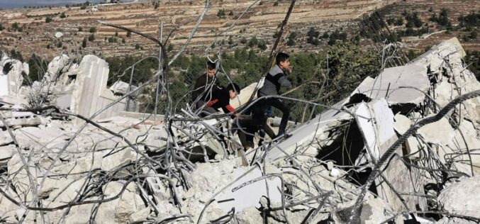 Under security claims , The Israeli occupation destroys 4 houses in Beit Kahil / North  Hebron