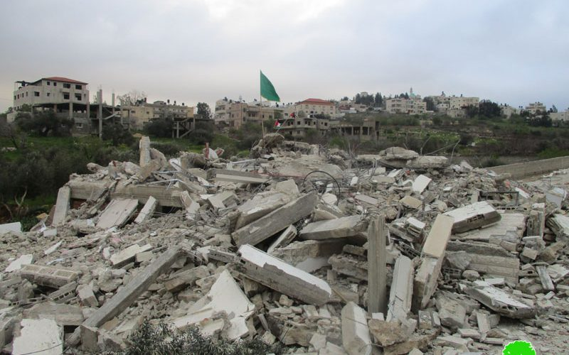 Under security claims  , The occupation demolished 'Assem Al-Barghuthi house in Kubar village / Ramallah governorate