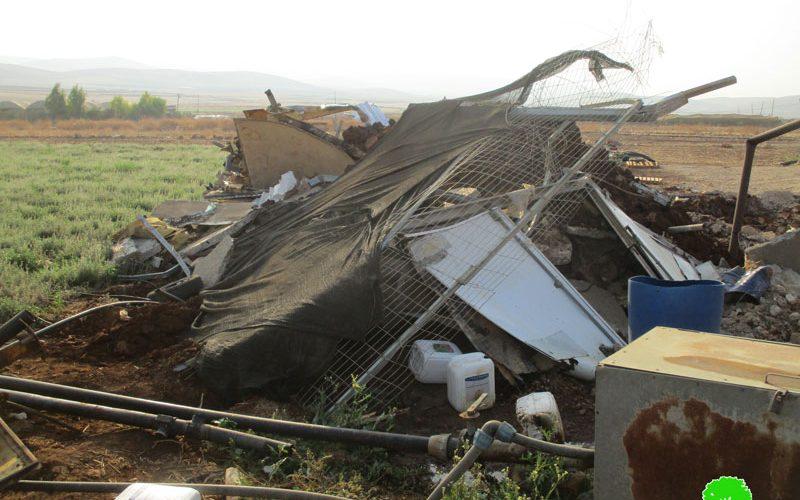 The Israeli occupation target Palestinian facilities in the Jordan valley