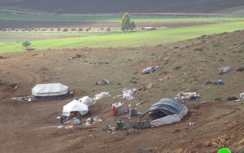 Demolition and confiscation of two tents in east Einun area / Tubas governorate