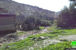 "Settlers of ""Meirav""  open their waste water in Jalboun village lands/ Jenin governorate"