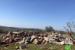 The Israeli occupation forces demolish a water harvest cistern in Az-Zawiya / Salfit