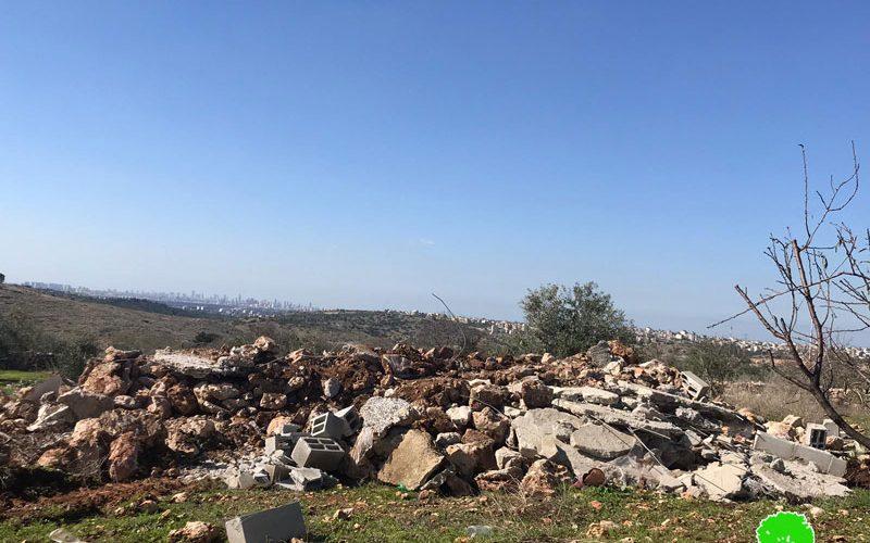 The Israeli occupation forces demolish a water harvest cistern in Az-Zawiya / Salfit