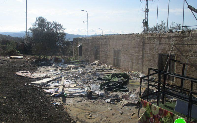 Demolishing a barracks in Ras Karkar village / Ramallah governorate