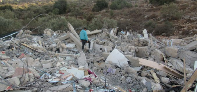 The Israeli Occupation demolishes a residential building in Shuqba / North Ramallah