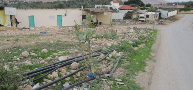 Destroying water lines in Aj-Jiftlik/ Ramallah governorate
