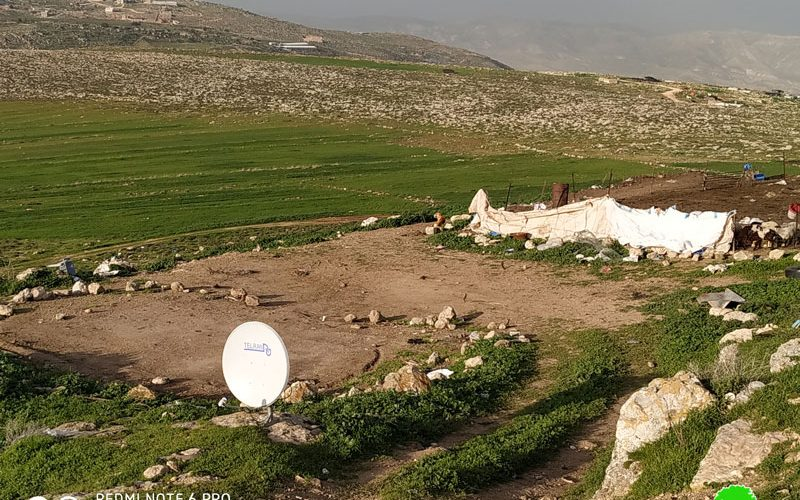IOF Demolish and confiscate Tents from Khirbet Jaba'ait / Ramallah governorate