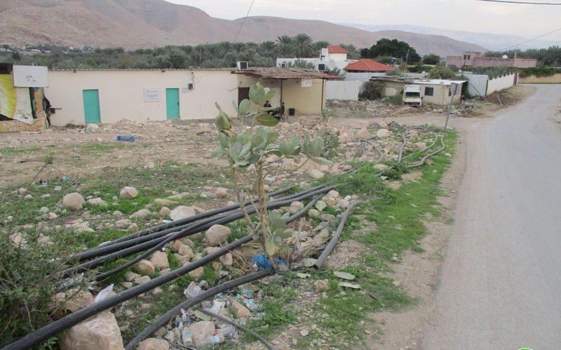 Destroying water lines in Aj-Jiftlik/ Ramallah governorate
