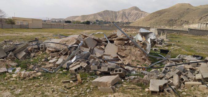 الانتهاكات الإسرائيلية في ظل كورونا:هدم ثلاثة مساكن قيد الإنشاء في منطقة السطيح / محافظة أريحا