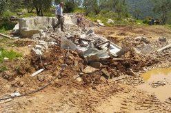 الانتهاكات الاسرائيلية في ظل كورونا:هدم غرفة زراعية وبئر لجمع المياه في بلدة دير بلوط / محافظة سلفيت