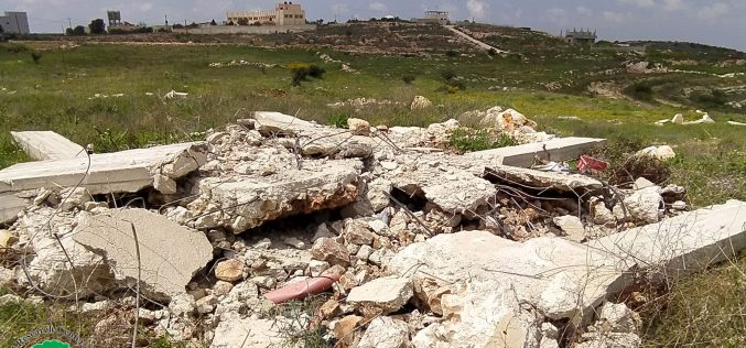 Israeli violations in the time of Corona:Demolition of a retaining wall and a facility in Jubara village / Tulkarim governorate