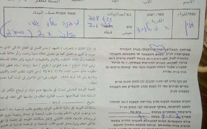 Halt of work order on an under construction house in Dohor Al-Abed southwest Jenin