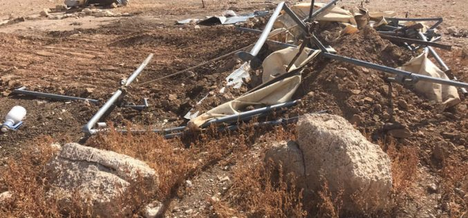 Demolishing agricultural and residential tents in Wad Al-Qelt / Jericho Governorate