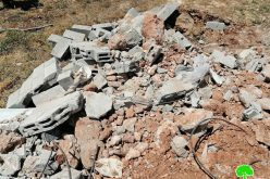 الانتهاكات الإسرائيلية في ظل كورونا:هدم غرفة زراعية وساحة بئر لجمع المياه في قرية العقبة / محافظة طوباس
