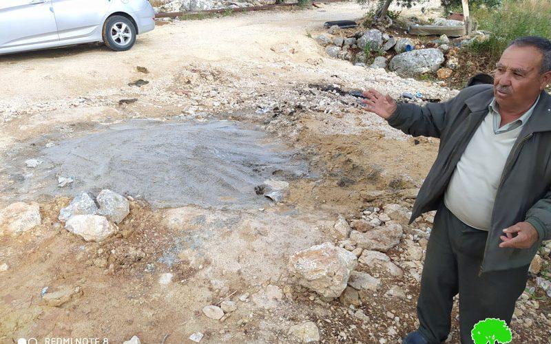 الانتهاكات الإسرائيلية في ظل كورونا:مصادرة حفار للمياه وإخطار بحفر بئر مائي في قرية رأس عطية / محافظة قلقيلية