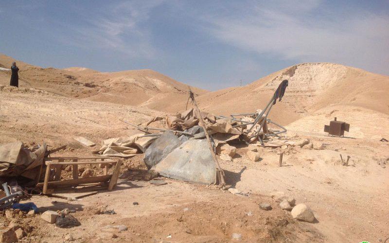 الانتهاكات الإسرائيلية في ظل كورونا:هدم خيام سكنية وزراعية في منطقة واد القلط / محافظة أريحا