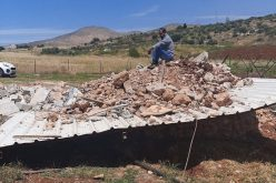 Demolishing an agricultural room and a water harvesting cistern in Al-Aqaba village / Tubas governorate