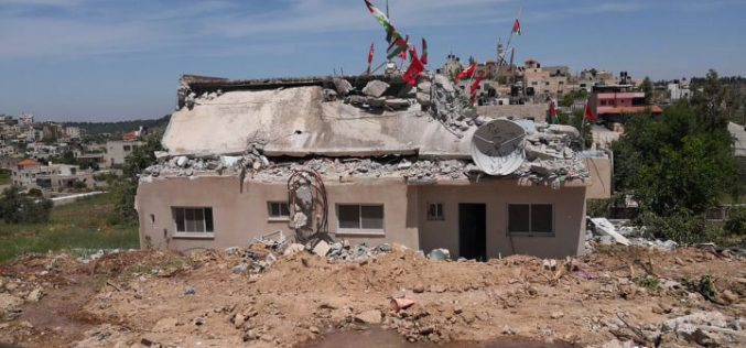 The Israeli Occupation raze house of prisoner Qassam Al-Barghuthi in Kubar / Ramallah governorate