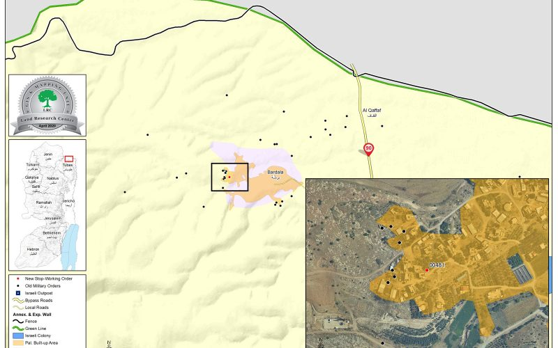 إخطار بوقف البناء لمسكن في قرية بردلة / محافظة طوباس