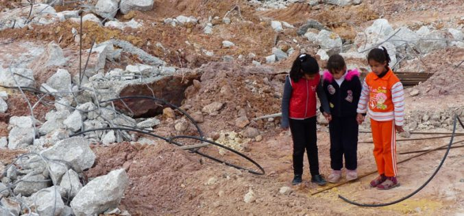 Destroying the foundations of a school in Birin south Bein Na'im / Hebron governorate