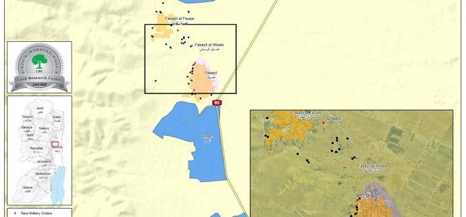 إخطارات بالجملة تطال التجمعات البدوية في قرية فصايل الوسطى / محافظة أريحا