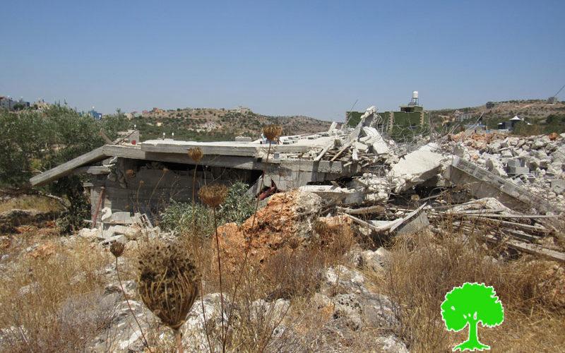 هدم منزل قيد الإنشاء في بلدة قراوة بني حسان / محافظة سلفيت
