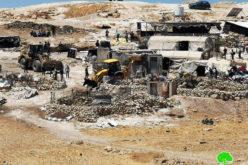 الاحتلال يهدم 11 مسكن ومنشأة في عدة قرى في مسافر يطا / محافظة الخليل