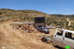 Halt of work notice target an Agricultural room and a water harvesting reservoir in Bruqin / Salfit governorate