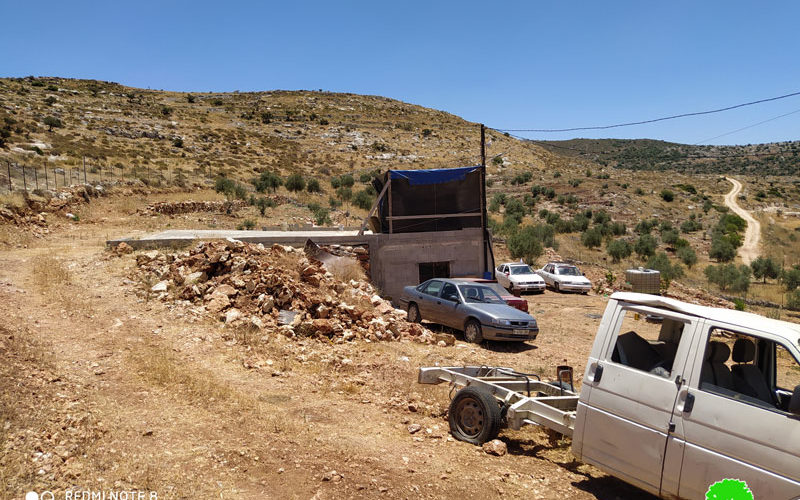Halt of work notice target an Agricultural room and a water harvesting reservoir in Bruqin / Salfit governorate