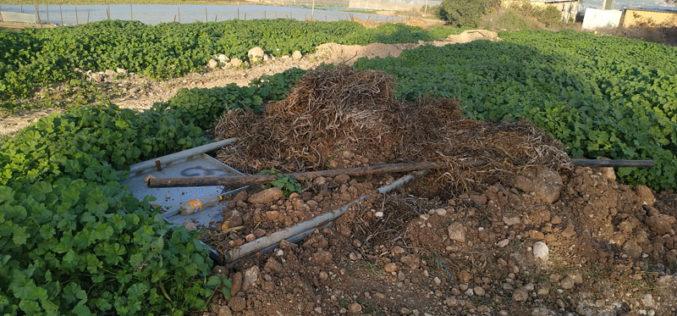 تدمير مئات الأمتار من الخطوط المائية والفتحات المائية في قرية بردلة / محافظة طوباس